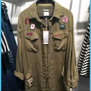 Zara Light Khaki Green Patch Jacket